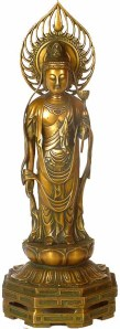 Avalokitesvara or Kuan Yin is known as Cannon in Japan. Notice that even though the image looks feminine, the breast is exposed and its flat signifying a breast of a man. This is to signify that Kuan Yin has no gender.