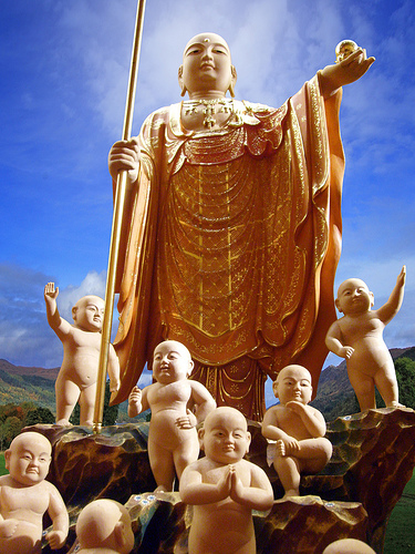 Some Buddhists, specially in japan and China (where the one child policy is forcing women to commit abortion), Ksitigarbha Bodhisattva is considered as the Bodhisattva for the souls of babies who died.