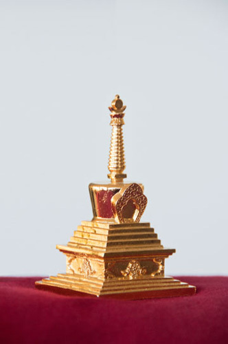 This is a sample of Stupa where one can put a copy of the FOUR DHARMAKAYA RELIC MANTRAS.