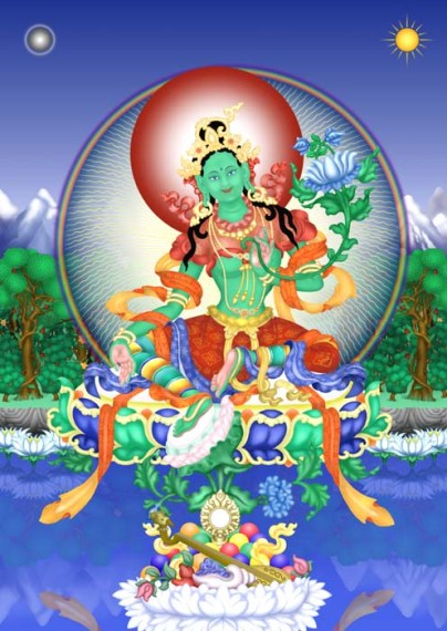 Goddess Tara is also known as Green Tara because of her green color.